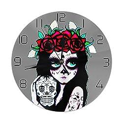 XIVEIER 10 Inch Silent Day of The Dead La Calavera Catrina Arabic Numerals Wall Clock for School