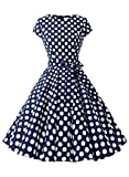 Auplus AUP1956 Vintage 1950s Polka Dot and Solid Color Prom Dresses Cap-Sleeve Navy White Dot B XS
