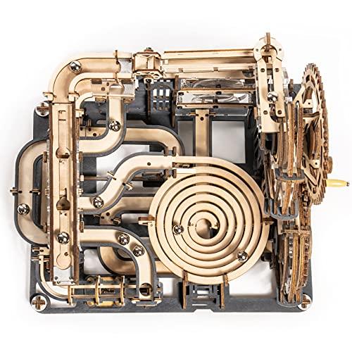 ROKR 立体パズル 立体ウッドパズル 木製パズル 3Dパズル サイバーパンク コースターおもちゃ 軌道2.5m 立体パズル 木製おもちゃ 木製パズル 手回し機械模型 手作りおもちゃ 暇つぶし 大人向け ストレス解消 誕生日プレゼント (夜の町)