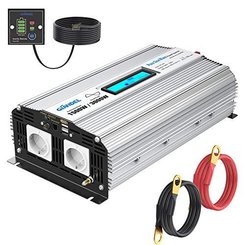 GIANDEL Inversor de corriente sinusoidal pura de 1500 W, CC 12 V a CA 230 V, inversor de tensión con doble puerto USB de 2,4 A y mando a distancia y pantalla LCD para camiones autocaravanas