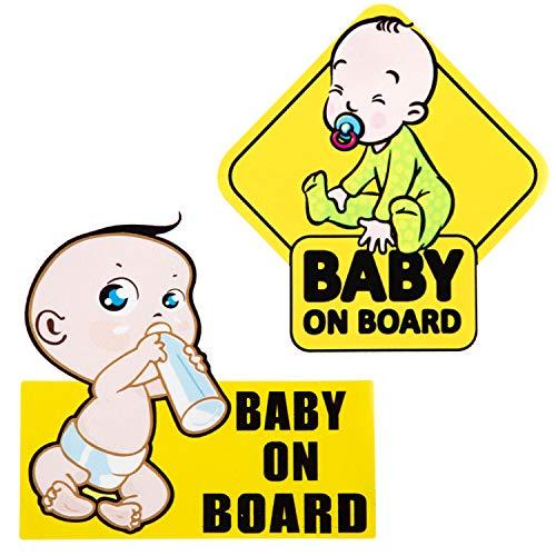 LUTER 2 Stück Baby an Bord Aufkleber für Autos, Reflektierende wasserdichte Baby Sicherheitsschild Aufkleber Aufkleber für Autos, LKW, Fenster oder Stoßstange (14x14cm)