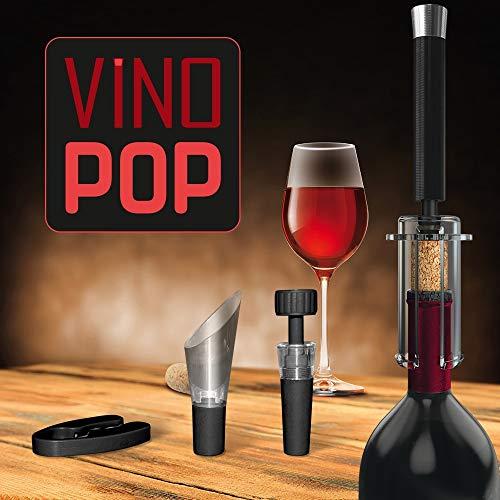 Apri bottiglia Vino Pop | Set con 4 accessori vino per aprire bottiglie e versare | Cavatappi professionale | Idee regalo originali | Set cavatappi
