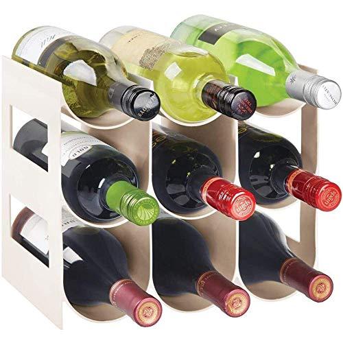 YWYW Estante de Vino Independiente de plástico de 3 Niveles, Botella de Agua y Organizador de Almacenamiento para encimeras de Cocina, despensa, refrigerador, Capacidad para 9 Botellas, Beige