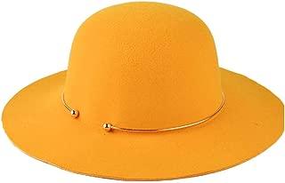 PengCheng Pang Fashion Women 100% Wool Dome Bucket Black Felt Hat with Metal Ring Fedora Hat Jazz Hat Wide-Brimmed Hat Size 56-58CM (Color : Orange)