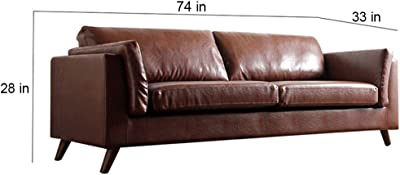 Furny Kristofer Leatherette 3 Seater Sofa Set (Brown)