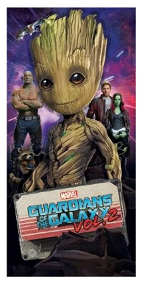 純粋な尾アロングDisney Marvel Happy Guardian Grootビーチタオル28?x 58春夏Galaxy