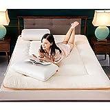 J-Kissen Plüsch-Futon-Matratze Topper, Folding Tatami Bodenmatte Kissen, Schlafbodenmatte, verdicken Matratze Topper Pad (Color : White, Size : 120x200cm(47x79inch)) - 2