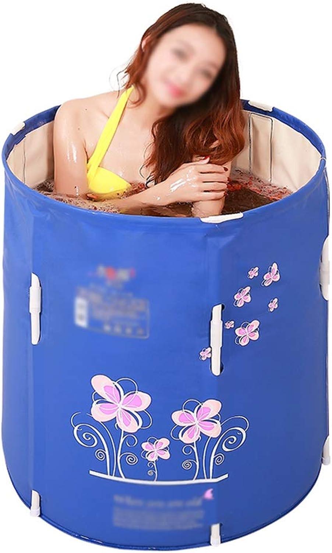 Folding Bathtub Adult Bath Barrel Household Plastic Bathing Bucket bluee Bathing Basin 70×70cm GW