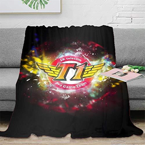 League of Legends SK Telecom T1 Manta de microfibra suave para sofá, sofá, silla, sala de estar, oficina, viajes, picnic, regalo de 150 x 200 cm