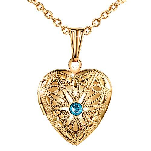 MicLee Collares Foto Mujer, Collar con Cadena Colgante Corazon Hueco con Brillante Circonita Azul,Color de Oro