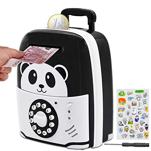MOMMED Money box, Panda Piggy bank with Password, ATM Money box for kids Adults, money bank as panda gifts with wheels at the bottom, Suitcase money jar as Gifts for Birthday, Christmas, New Year