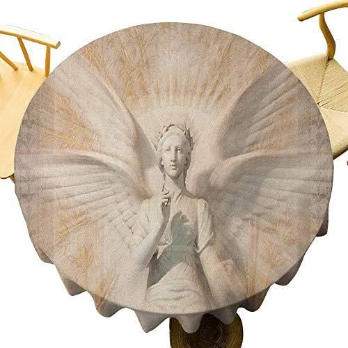 VICWOWONE - Mantel de esculturas de 150 cm con estampado de estatua de ángel mujer en la catedral medieval, estilo vintage, diseño mítico, tacto cómodo, amarillo y blanco