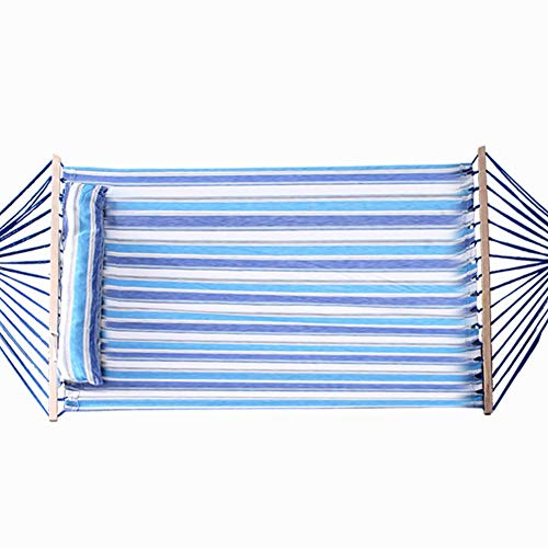 softneco Cotton Rope Hammock With Pillow,Double Hammock For Outdoor Garden,Quilted Fabric Camping Hammock With Hardwood Spreader Bars Blue