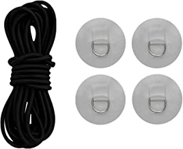 shangmu 4 Pieces D Ring Pad Patches Deck Attachment and 1 Piece 5mm Diameter Elastic Rope Shock Cord Fit for PVC Inflatable Boat Raft