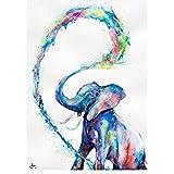 Pintura en lienzo Animal abstracto Arte de la pared Agua bebé elefante Carteles Impresiones Arte de la pared Imágenes para la habitación Decoración del hogar 27.5'x39.4' (70x100cm) Sin marco