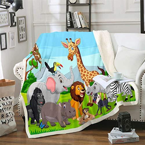 Manta de sherpa para niños, diseño de elefante y león, jirafa, de forro polar, para niños, niñas, adorable manta de felpa, safari, zoológico, manta para sofá, cama, cama king de 2014 x 224 cm
