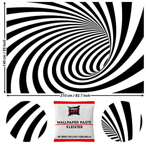 GREAT ART Fototapete 3D Schwarz Weiß Tunnel 210 x 140 cm – Moderne Wandtapete Doppler Effekt Optische Täuschung Optic Wanddekoration Wandtapete – 5 Teile Tapete inklusive Kleister