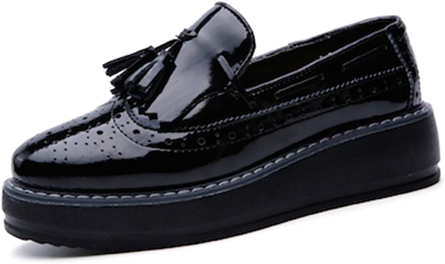 Women Flats Platform shoes Patent Leather Tassel Slip-on Pointed