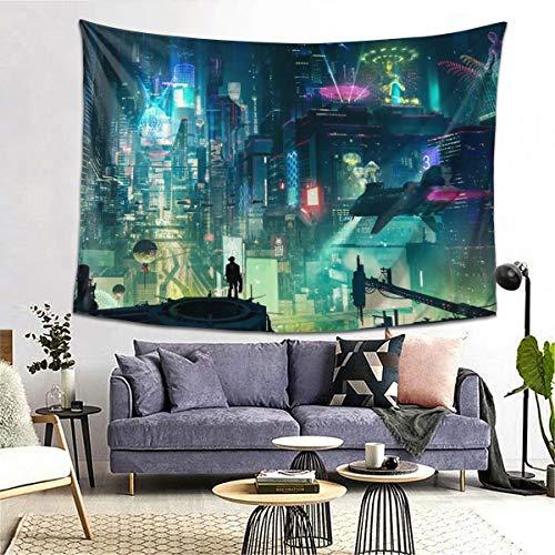Cyberpunk Cityscape Tapiz para colgar en la pared para sala de estar, dormitorio, decoración de casa, cartel de pared, bandera (203 x 152 cm)