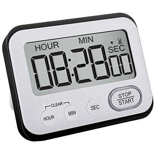 Suading Cocina Temporizador de Cuenta AtráS Digital: el Contador Maestro NiiOs Grandes LCD Sencilla Clip MagnéTico de Reloj Minuto Segundo CronóMetro Hora Timbre de Gigante Grande