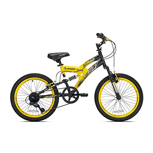 Kent Bikes Avigo Air Flex Dual Suspension Steel 20 Inch Boys BMX Bike, Yellow