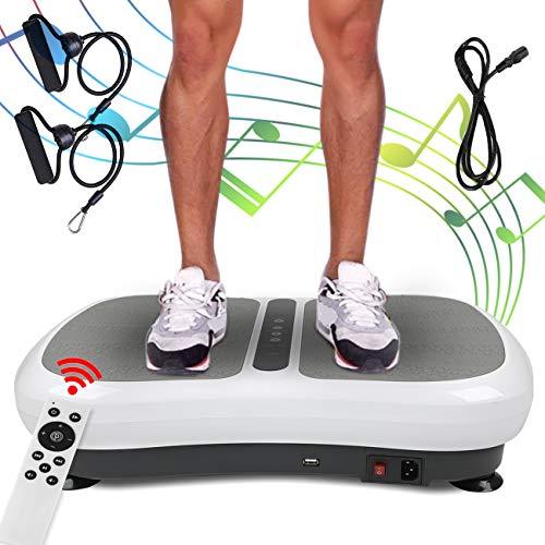 Triclicks Pedana Vibrante Ultra Slim, Piattaforma Vibrante, Fitness Pedana Vibrante e Oscillante, Pedane Vibranti con Altoparlanti Bluetooth+2 Elastici+Altoparlanti Bluetooth+180 Livelli Telecomando