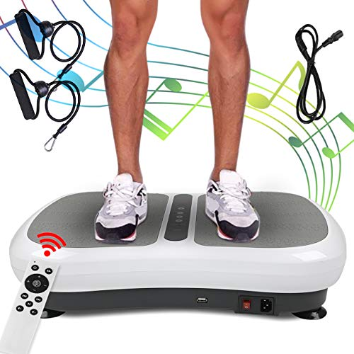 Triclicks Ultra Slim Vibration Plate Fitness, Power Vibration Plate, Vibration Shaper Plate with Bluetooth Speakers + USB Music Player +2 Training Bands + Remote Control +180 Levels