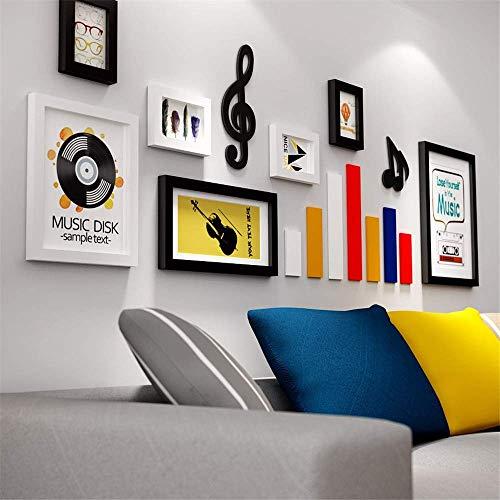 Creatief muzieksymbool fotowand wit zwart fotolijst set eenvoudige kunst grote fotolijst wandset massief hout voor meerdere foto's wandmontage voor huishoudtextiel zwart en wit