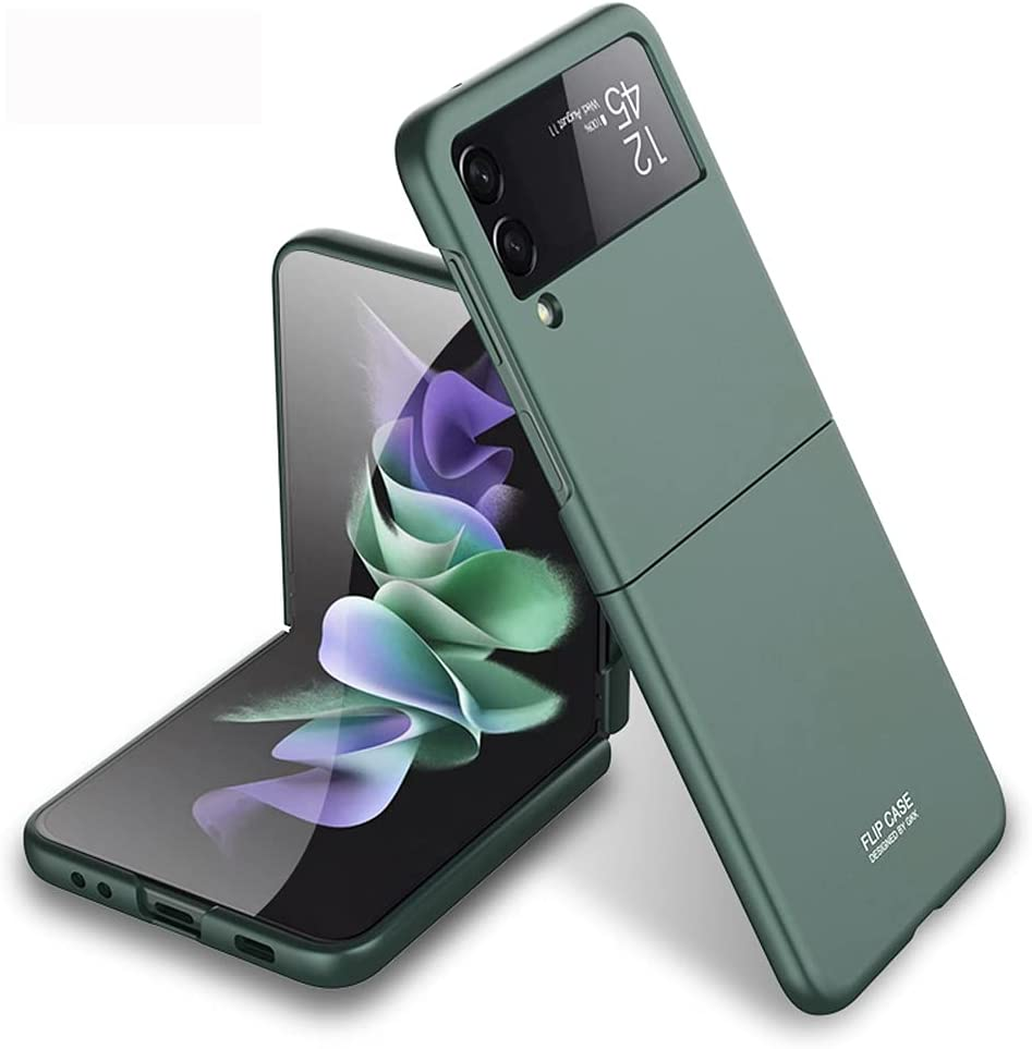PUROOM for Samsung Galaxy Z Flip 3 Case Ultra Thin Hard PC Matte All-Inclusive Shookproof Case Plastic Fold Cover for Samsung Galaxy Z Flip 3 5G (Green)
