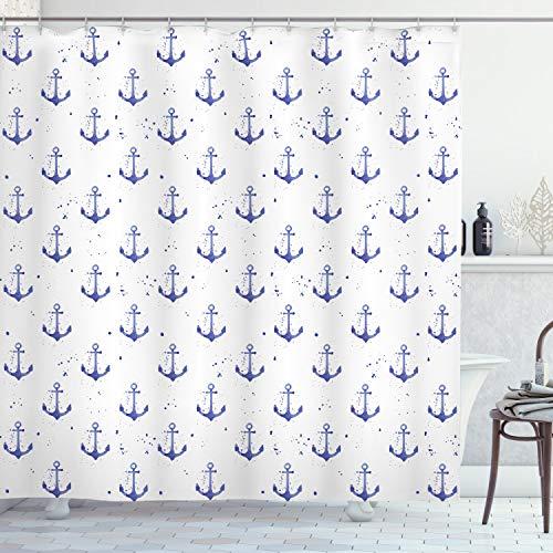ABAKUHAUS Anker Duschvorhang, Aquarelle Marine-Symbole, Leicht zu pflegener Stoff mit 12 Haken Wasserdicht Farbfest Bakterie Resistent, 175 x 200 cm, Violett Blau & weiß