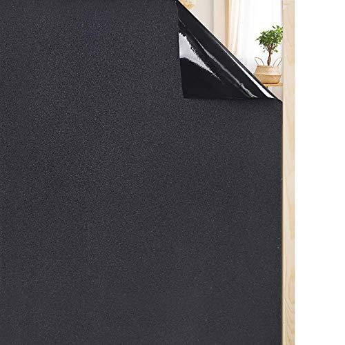 rabbitgoo Fensterfolie selbstklebend Sichtschutzfolie Blickdicht Verdunkelungsfolie Fenster Klebefolie statische Folie dunkel für Schlafzimmer Badezimmer Anti-UV Schwarz 44.5 x 200 cm