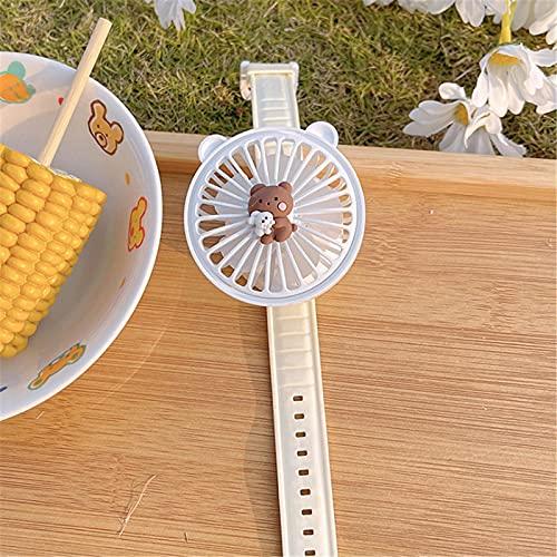 xiaomomo521 Cute Bear Hand-Held Fan - CóModa Correa De MuñEca Mini Ventilador PortáTil para Reloj Ventilador Personal Recargable USB para Viajes, Hogar Y Oficina Osito