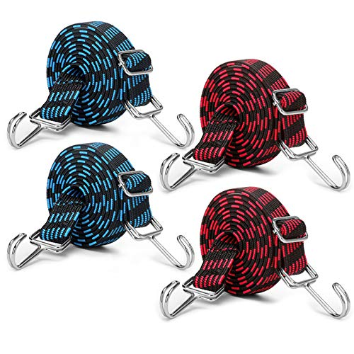 MOLADRI Adjustable Bungee Cords With Hooks Set,80' Long Flat Stripe Nylon Elastic Band Bungee Straps,for Moving Heavy Duty Cargo(4 Pack)