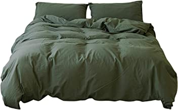 MKXI Nature Bedding Sets Dark Green 100% Washed Cotton Duvet Cover Set with Zipper Cloure Solid Color Simple Style, Queen