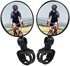 Suayea Bike Mirrors, 1Pair Bicycle Cycling Rear View Mirrors, Handlebar Mounted Rotatable Adjustable Convex Mirror, Comes with 2 Slilicone Mounts & 1 Reflective Sticker(5PCS)