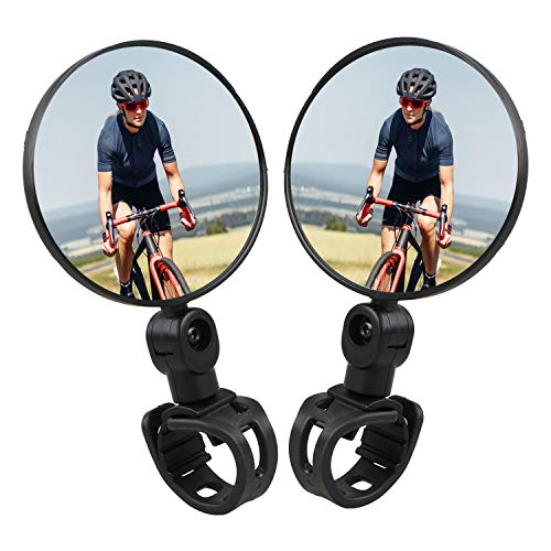 Bike Mirrors, 1 Pair Bicycle Cycling Rear View Mirrors, Handlebar Mounted Rotatable Adjustable Convex Mirror, Comes with 2 Slilicone Mounts & 1 Reflective Sticker(5PCS)