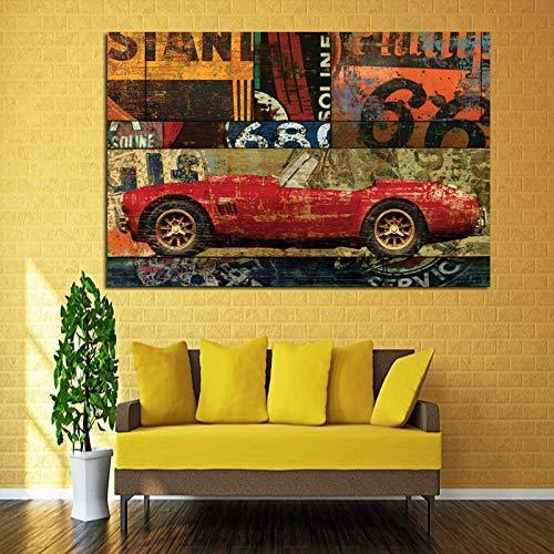 Vintage Farbe Auto Motorrad Street Art Graffiti Ölgemälde auf Leinwand Poster Wandbild Wohnzimmer ungerahmt