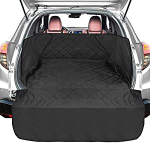 SUV Cargo Liner for Dogs, FunniPets Waterproof Cargo Cover for SUVs Sedans Vans, Pet Seat Cover with Side Flap and Bumper Flap, Non-Slip Backing, Universal Fit, Black