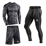 MEETEU Ensemble Vêtements de Compression Homme, Vêtement Fitness Respirant Vêtements de Sport Quick Dry Tenue de Sport Pantalon Hauts Manches Longues Tee Shirt Legging pour Running Jogging Cyclisme