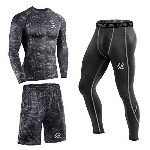 MEETEU Ensemble Compression Homme Tenue Sport Fitness Vêtement Running Tee Shirt Compression Legging Collant Sport Running Jogging Cyclisme,Manches Longues Printed&Noir,L