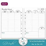 SinnWunder® Premium-Kalendereinlagen - Wochenplan mit Spalten 1 Woche auf 2 Seiten - PureSinn (2021 - Din A5)