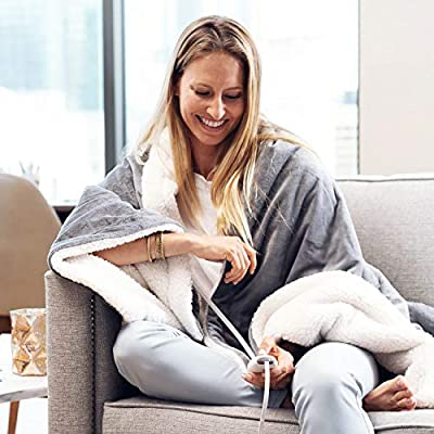 """Pure Enrichment PureRelief Plush Heated Throw - Fast-Heating 50"""" x 60"""" Electric Blanket with 4 Heat Settings, Storage Bag and Soft, Machine-Washable Micromink and Sherpa for Cozy Couch or Bed Use"""