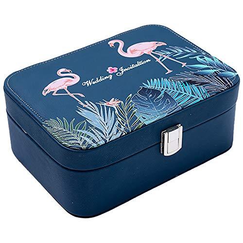 Caja Almacenamiento Joyería De Viajes Pequeños Azul, Collar Pulsera PU Joyería De Cuero Artificial, Pendientes De Anillo Organizador De Caja De Joyería para Niñas Mu Blue