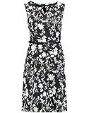 Taifun Damen Ärmelloses Kleid mit Floral-Print tailliert Black Gemustert 40