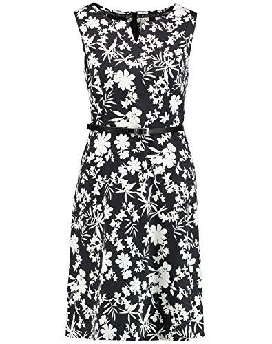 Taifun Damen ärmelloses Kleid Mit Floral-Print Tailliert Black Gemustert 46