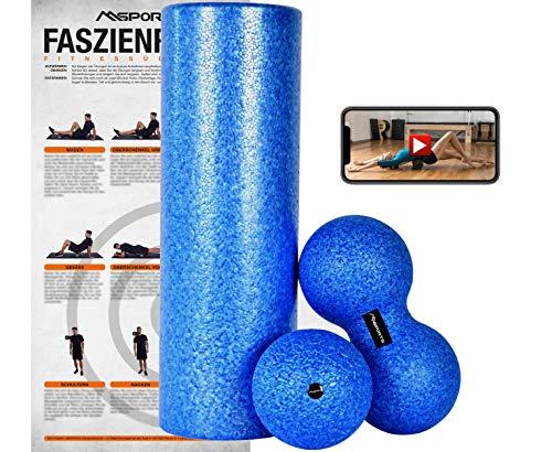 MSPORTS Faszienrolle + Massageball Premium inkl. Übungsposter + Workout App GRATIS | FASZIENSET - Professional Studio Qualität | Massagerolle Foamroller (OZEANBLAU)