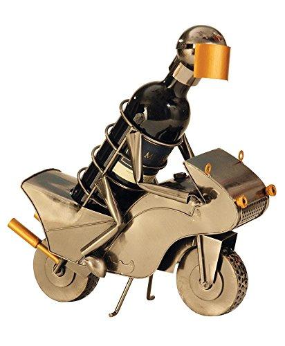 Extravaganter Wein Flaschenhalter Motorrad Fahrer aus Metall Höhe 25,5 cm