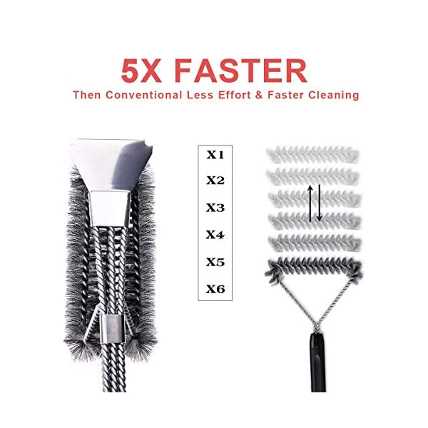 Qomolo Grill Brush 3 in 1 BBQ Grill Brush with Strong Stainless Steel Scraper Grill Cleaning Brush for Charcoal Electric… 4