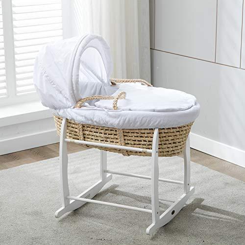 Mcc Moisés cesta para Bebé recién nacido cesta en Palma natural con sábanas blancas en 100% algodón Waffle y colchón (color blanco)