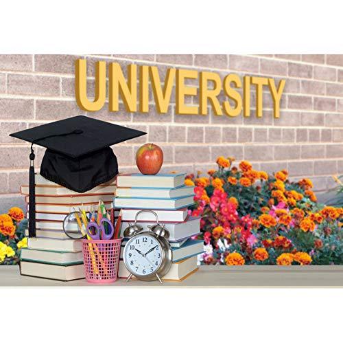 Yeele 3x2m Graduatie Fotografie achtergrond voor studenten Academische cap Boeken Wekker Universiteit Muur Foto Achtergrond voor fotografie Kinderen School Graduate Prom Foto Rekwisieten